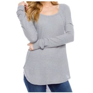 Tops - Gray Waffle Knit Top